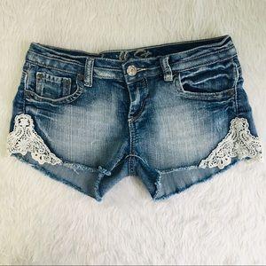 Vanilla star distressed jean shorts 7